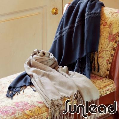 Sunlead-保暖輕柔寬版純色防寒披肩圍巾蓋毯