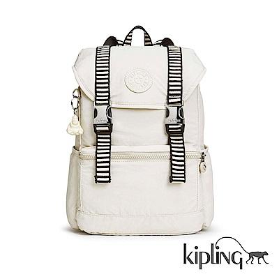 Kipling 後背包 象牙白混搭條紋-中