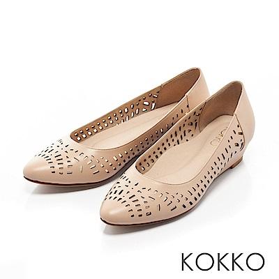 KOKKO -夏日甜心鏤空尖頭楔形跟鞋-微風米