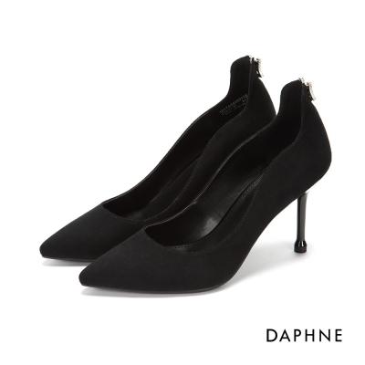 達芙妮DAPHNE 高跟鞋-V型水鑽弧形絨面高跟鞋-黑