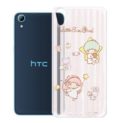KikiLala雙子星 HTC Desire 826 透明軟式手機殼 粉紅條紋款
