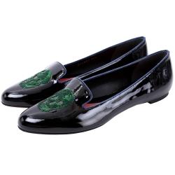 Alexander McQueen 亮片骷髏頭漆皮樂褔鞋(黑色)