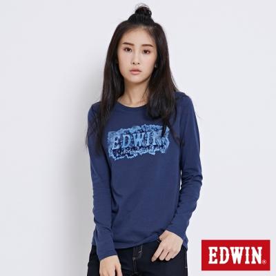 EDWIN 冒險旅行忘憂森林LOGO長袖T恤-女-丈青