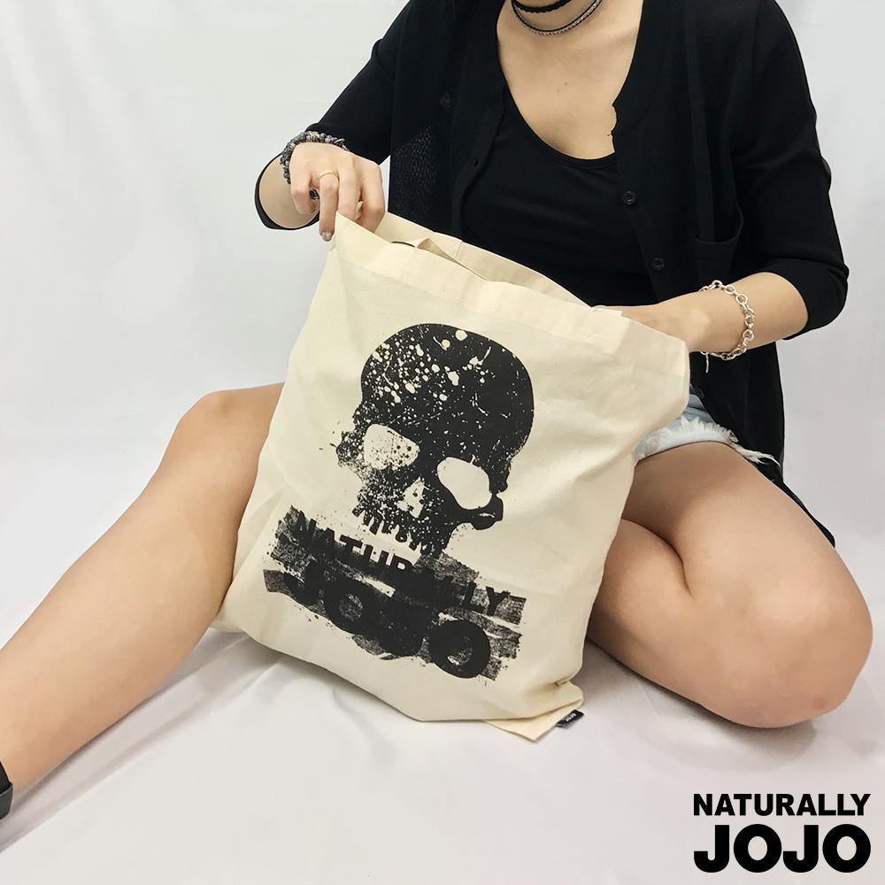 NATURALLY JOJO 骷顱頭帆布袋 (淺卡其)