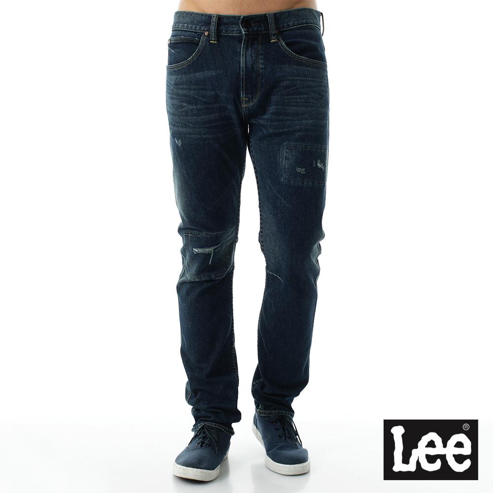 Lee 牛仔褲 707中腰標準合身刷破小直筒牛仔褲101+男款