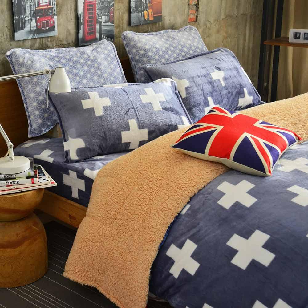Ania Casa 超保暖法蘭絨-加大床包被套四件組-巴黎迷情
