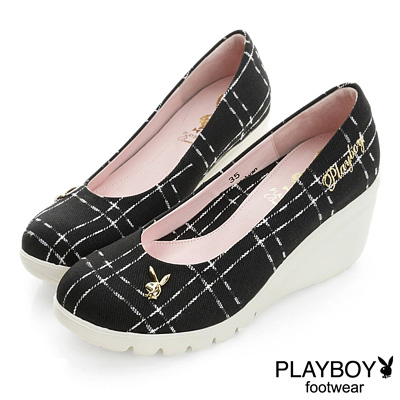 PLAYBOY 英倫貴族 GOPLAY格紋高台楔型鞋-黑(女)