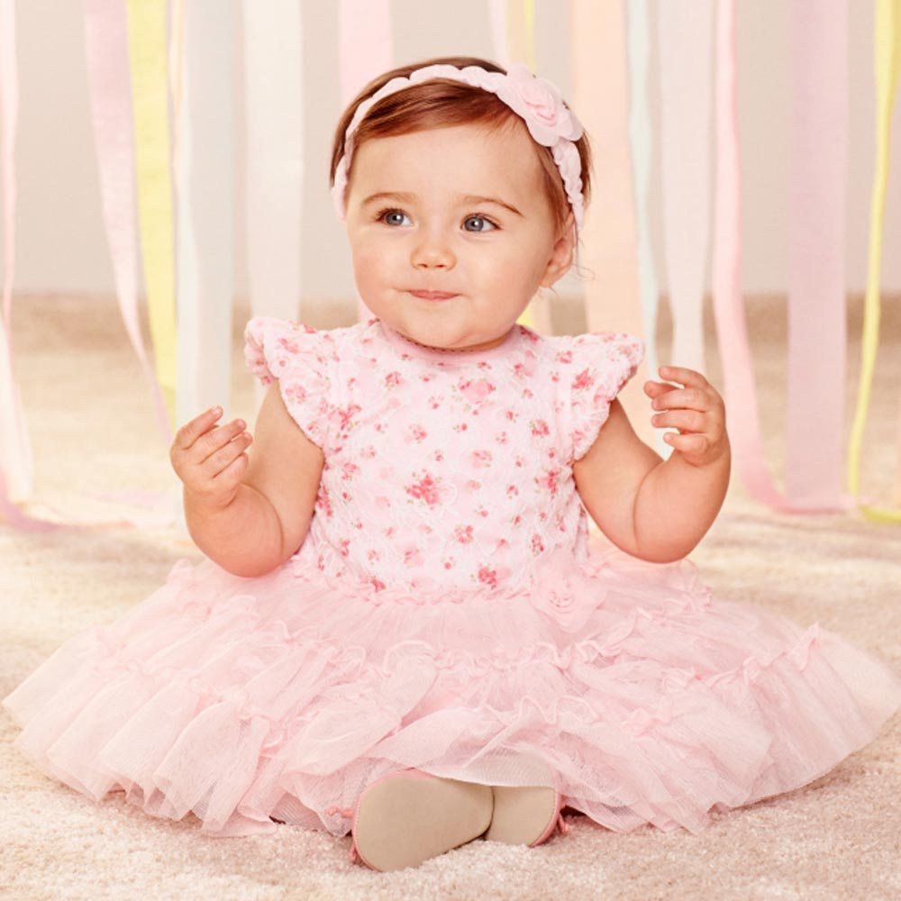 Little Me 粉紅玫瑰短袖紗裙洋裝