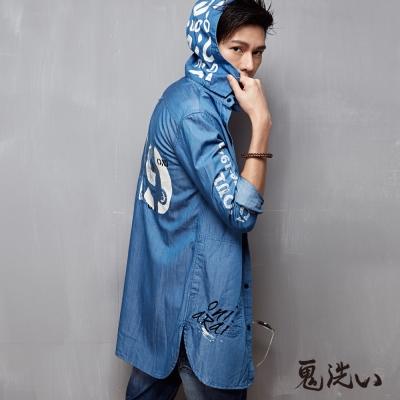 鬼洗 BLUE WAY 潮流長版休閒衫-藍