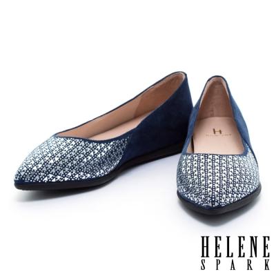 平底鞋 HELENE SPARK 時尚幾何晶鑽麂布尖頭平底鞋-藍