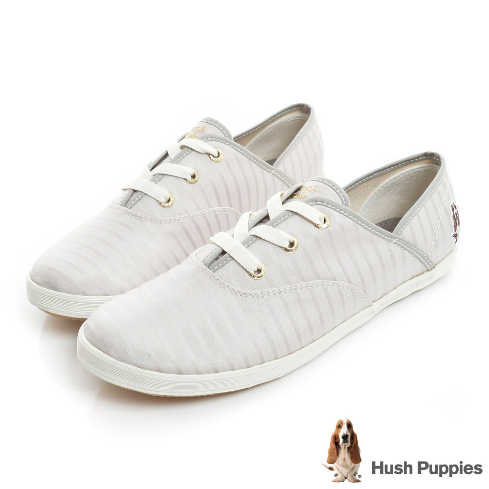 Hush Puppies 低奢緞面咖啡紗帆布鞋-銀灰