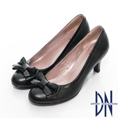 DN-優雅名媛-全真皮珠光蝴蝶結拼接壓紋跟鞋-黑
