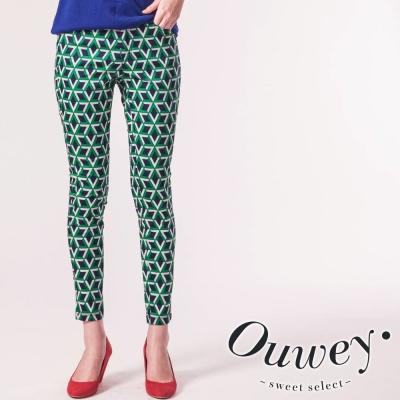 OUWEY歐薇-幾何印花長褲-共2色