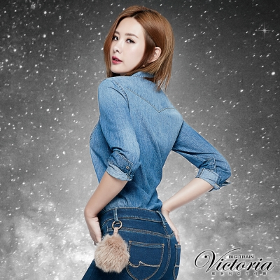 Victoria 雙口袋牛仔長袖襯衫-女-中藍