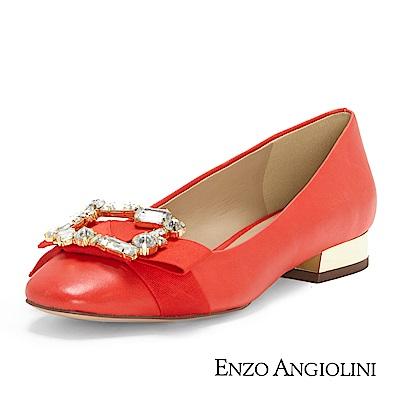 ENZO ANGIOLINI--鑽飾方頭低跟鞋-夏日紅