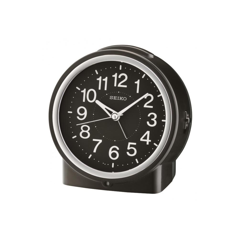 SEIKO 精工 滑動式秒針 嗶嗶聲 靜音 貪睡鬧鐘(QHE117K)-黑/12X11cm