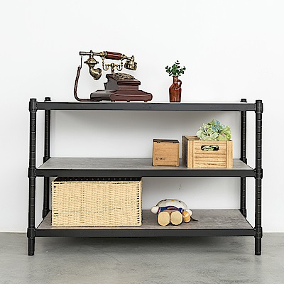 dayneeds鐵木藝匠三層烤黑收納層架90x45x60cm含木板