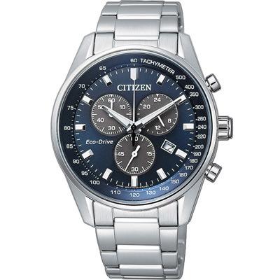CITIZEN 星辰 時刻潮流光動能計時腕錶(AT2390-58L)-藍/39.8mm