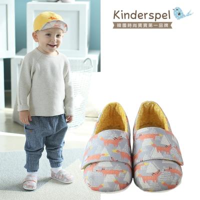 Kinderspel 輕柔細緻‧棉花糖休閒學步鞋(蛋黃小木狼)