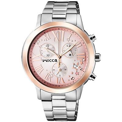 WICCA 星彩迷戀三眼時尚腕錶(BM1-237-91)-粉x玫瑰金框/36mm