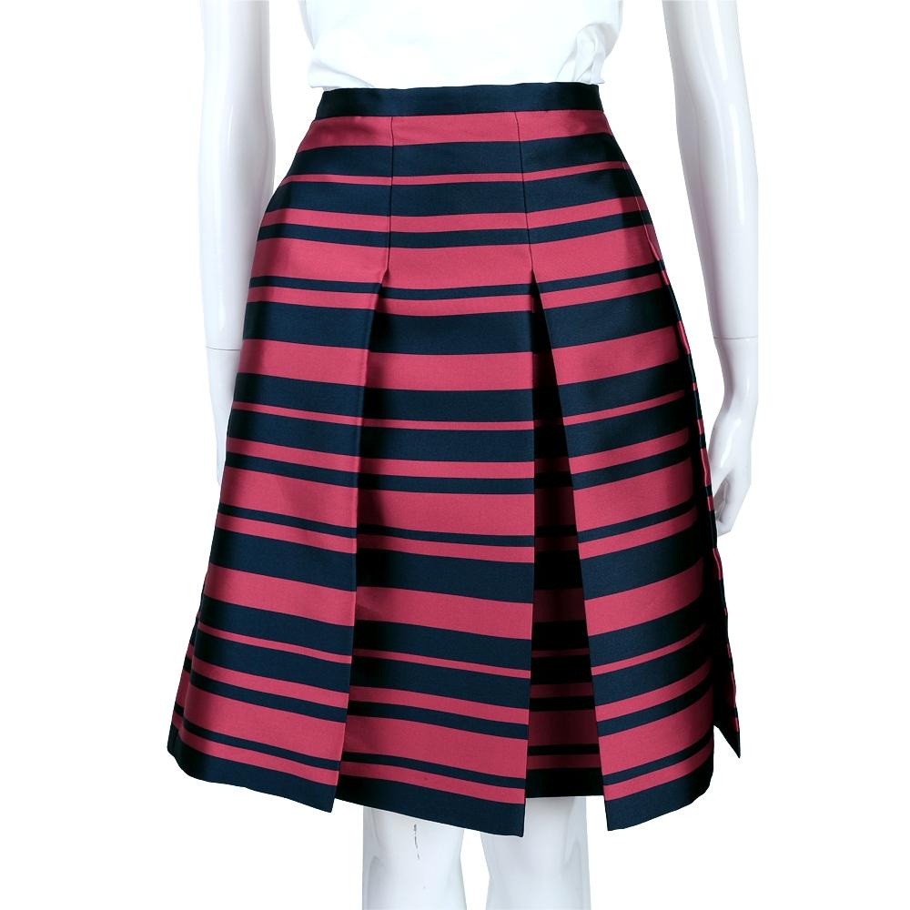 MAX MARA 紅x藍色條紋抓褶及膝裙