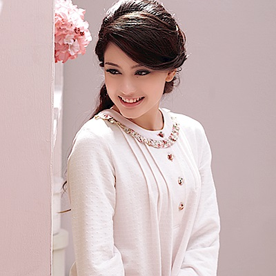 羅絲美睡衣 - 艷花迷情長袖洋裝睡衣(純真白)