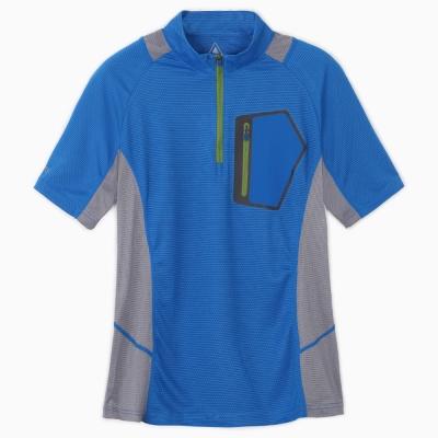 【ATUNAS 歐都納】男款吸濕排汗抗UV短袖立領T恤 A1-T1513M 寶藍