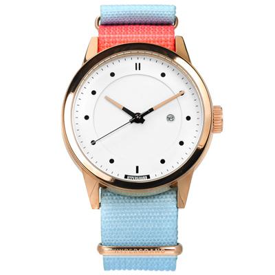 HyperGrand 加州陽光極簡工業風印花尼龍手錶-白x玫瑰金框x桃紅藍/44mm