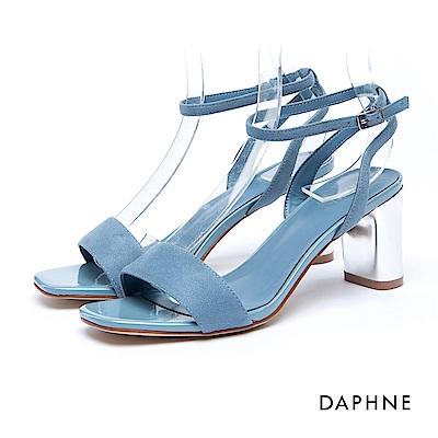 達芙妮DAPHNE 涼鞋-絨面一字繞踝金屬粗跟涼鞋-藍