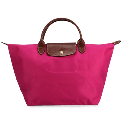 Longchamp 折疊中型短把水餃包-桃紫色