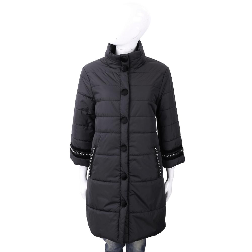 BLUGIRL-FOLIES 鑽鑲邊細節黑色絎縫科技棉保暖大衣