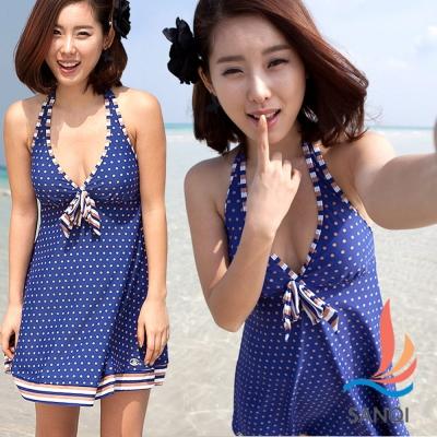 SANQI三奇 愛戀熱旅 二件式圓點連身裙泳裝(藍M~XL)