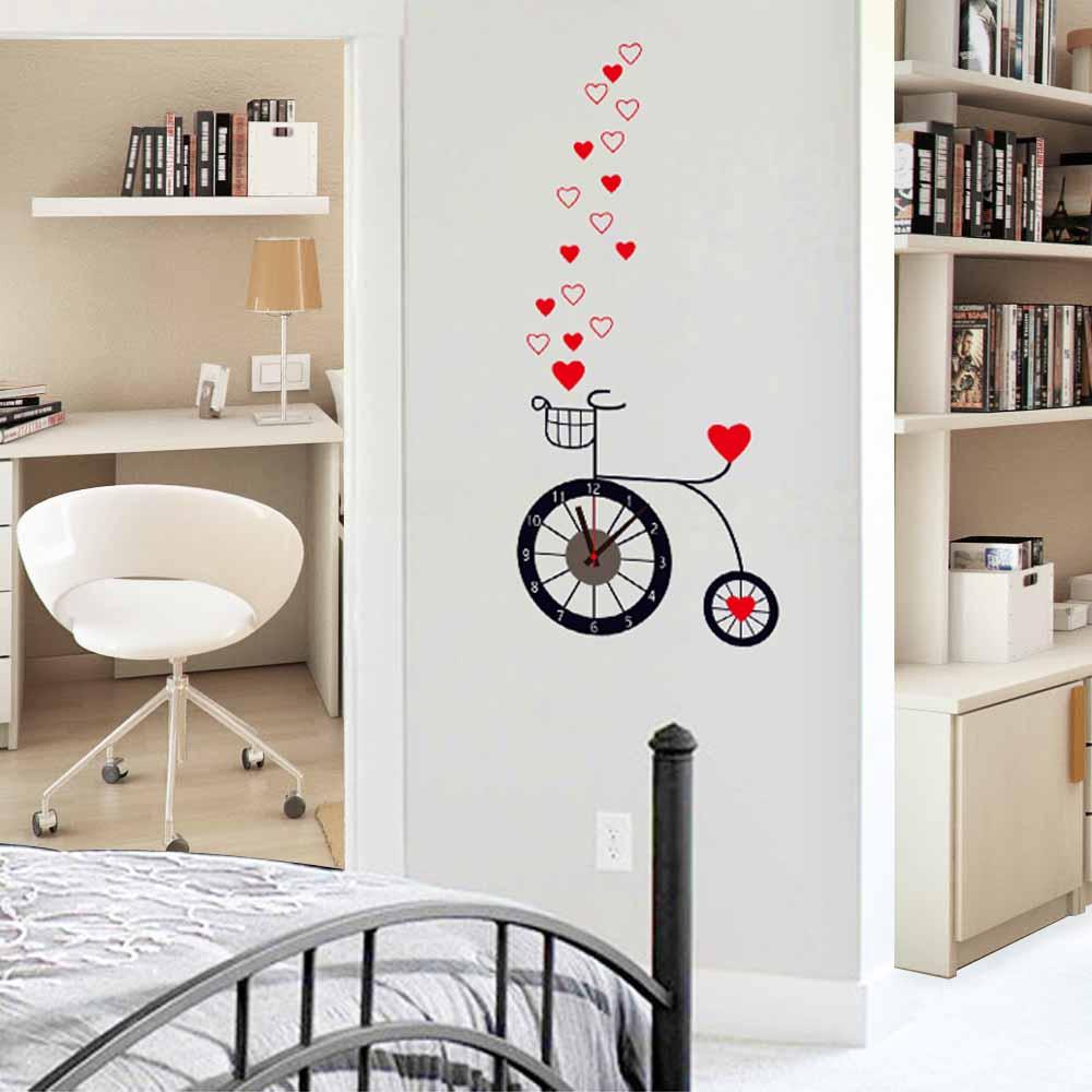 創意生活系列-愛心自行車創意時鐘貼 大尺寸高級創意壁貼 / 牆貼E-029