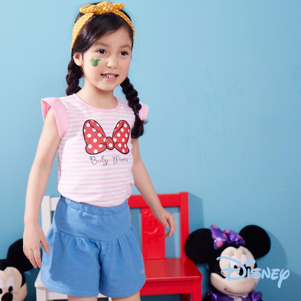 Disney 點點米妮蝴蝶結棉褲裙 牛仔藍