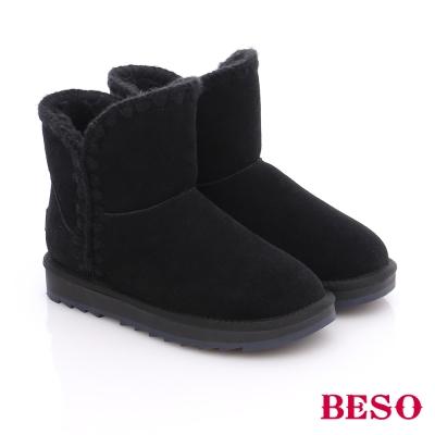 BESO 潮人街頭風 個性編織素面雪靴  黑色