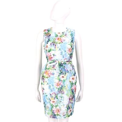 EDWARD ACHOUR PARIS 藍綠色暈染印花蝴蝶結飾無袖洋裝