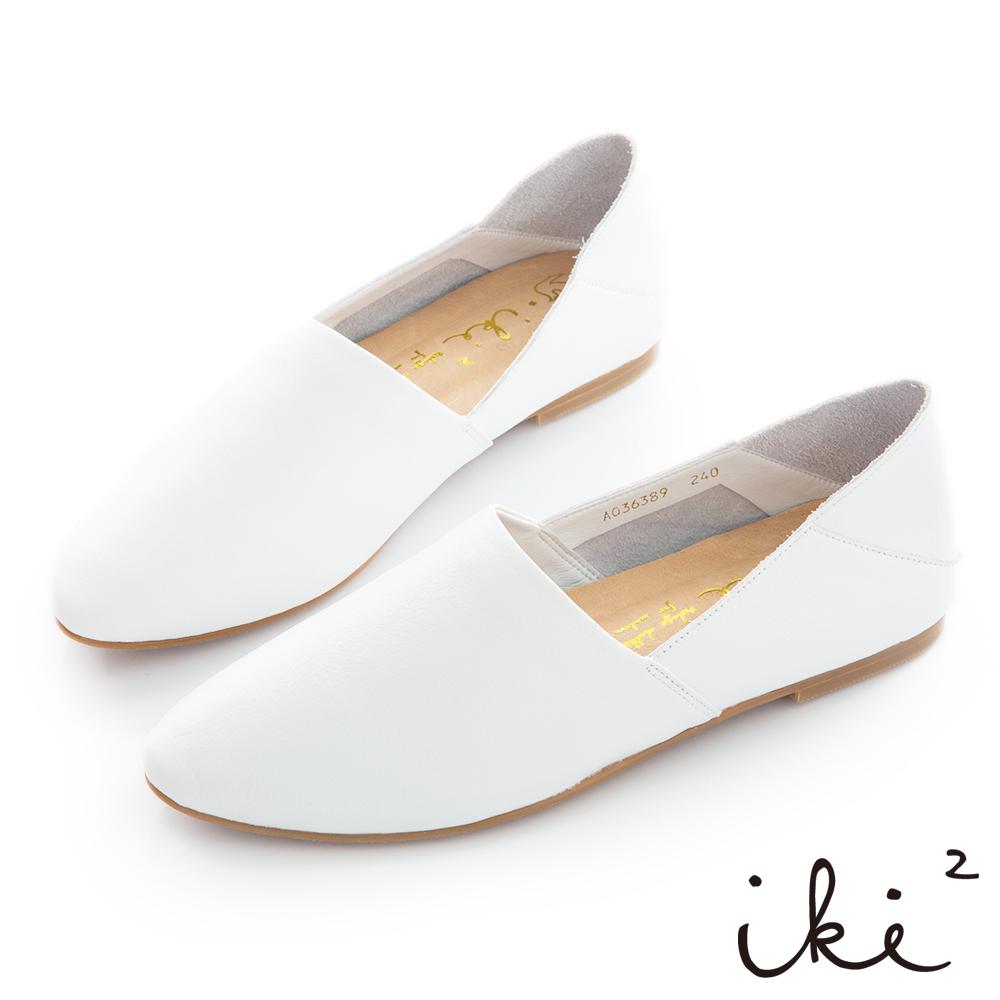 iki2 全真皮 素雅簡約2way平底鞋-白