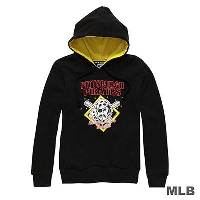 MLB-匹茲堡海盜隊卡通印花連帽長袖厚T恤-黑 (女)