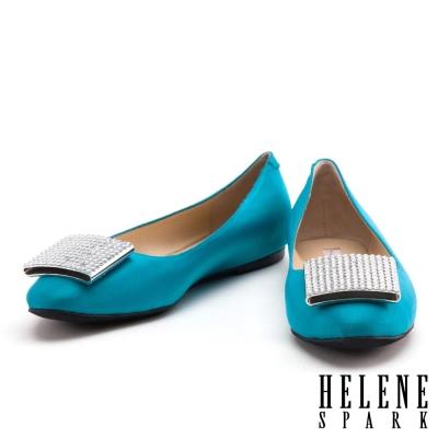 娃娃鞋 HELENE SPARK 時尚高雅白方鑽緞布平底娃娃鞋-藍