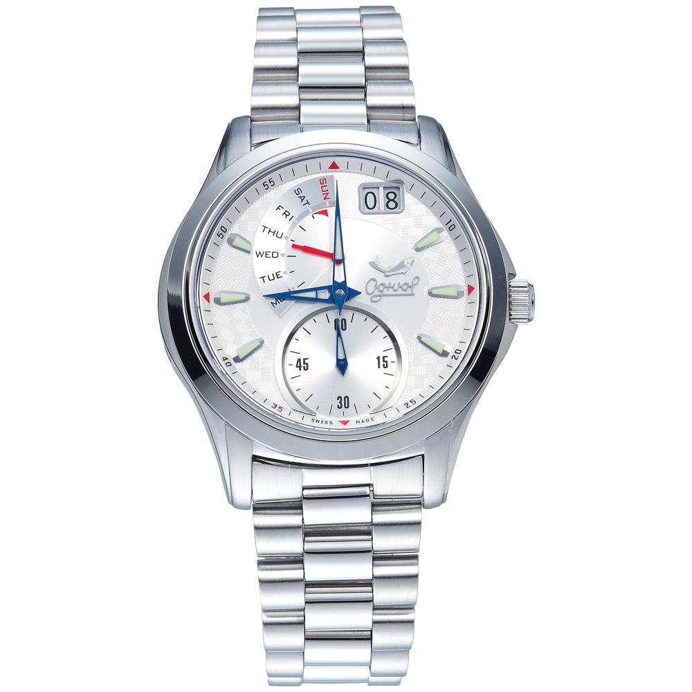 Ogival 瑞士愛其華 832PMS-WHITE 逆跳極速多顯腕錶-白/40mm
