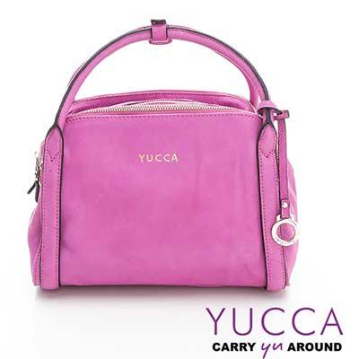 YUCCA - 牛皮立體甜美波士頓包-紫紅色- D0112062