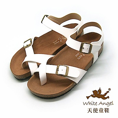 天使童鞋 陽光羅馬氣墊夾腳親子拖鞋(超大童)J856-白