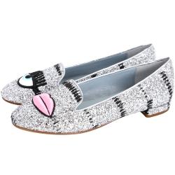 Chiara Ferragni Flirting 刺繡眨眼唇亮片樂福鞋(銀色)