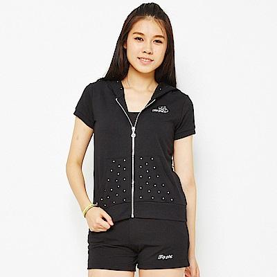 【 TOP GIRL】甜美之鑽 - 吸濕排汗休閒針織連帽外套-黑