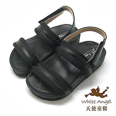 天使童鞋 中性簡約百搭涼鞋(小童-中童)J853-黑