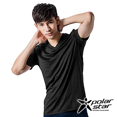 PolarStar 男 排汗衣內衣 排汗衣 短袖T恤『黑』P15137