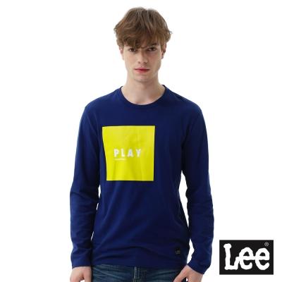 Lee 方形膠印與直絨長袖圓領TEE-男款-藍色