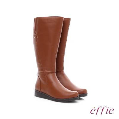 effie 保暖靴 真皮側拉鍊舒適奈米長靴 茶色