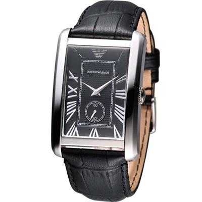 Emporio Armani  俐落方形石英錶-黑/30x42mm