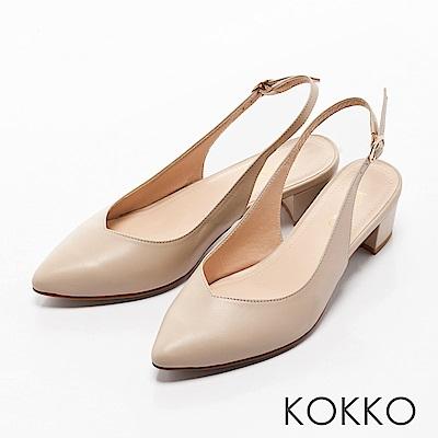 KOKKO - 輕熟香氣後拉帶尖頭粗跟鞋-純淨白